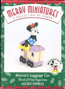 Hallmark Merry Miniatures ~ Minnie's Luggage Car 1998 ~  Mickey Express