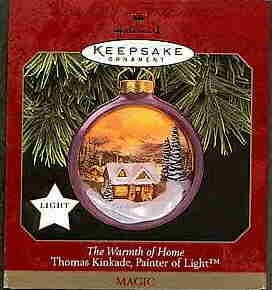 Hallmark Magic Ornament ~ The Warmth of Home 1997 ~ Thomas Kinkade