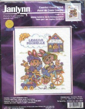 Biking Bunnies Birth Announcement ~ Cross-Stitch Kit