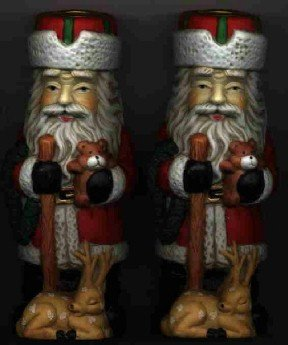 2 Santa & Reindeer Candle Holders