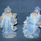 2 Santa Figurines dressed in blue