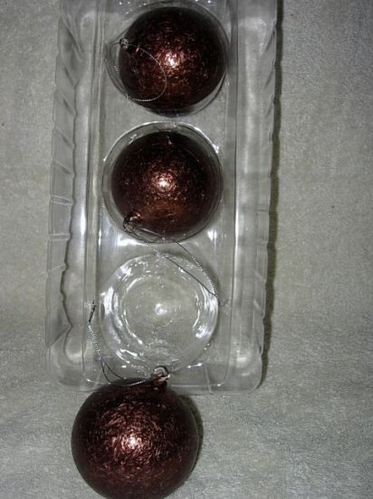3 Glass Lodge Look Ornaments ~ Coppery Brown