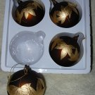 4 Glass Lodge Look Ornaments ~ Brown w/gold leaves