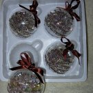 4 Glass Lodge Look Ornaments ~ Browns