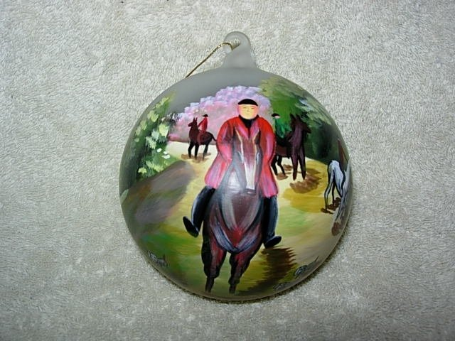 Hand-Painted ornament with man on a horse English look