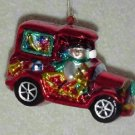 Snowman & Santa in Car ~ Blown Glass Ornament