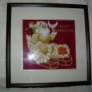 Victorian Santa in Sleigh Needlepoint Framed Picture