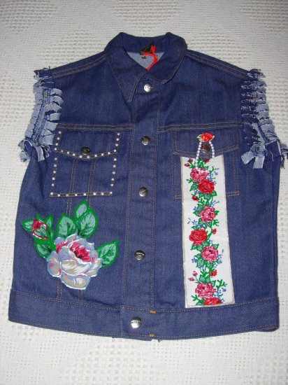 Girls Embellished Denim Vest - Size 10