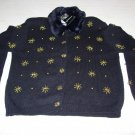 Black Sweater w/Faux Fur & Embellishments - Size Medium