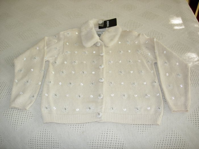 Ivory Sweater w/Faux Fur & Embellishments