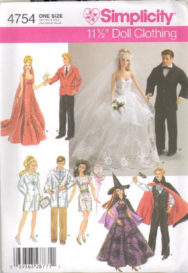 Barbie Sewing Pattern ~ Simplicity 4754 ~ Barbie & Ken