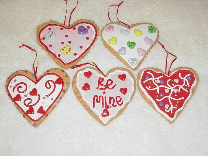 5 Frosted & Decorated Valentine Heart Cookie Ornaments ~ CUTE