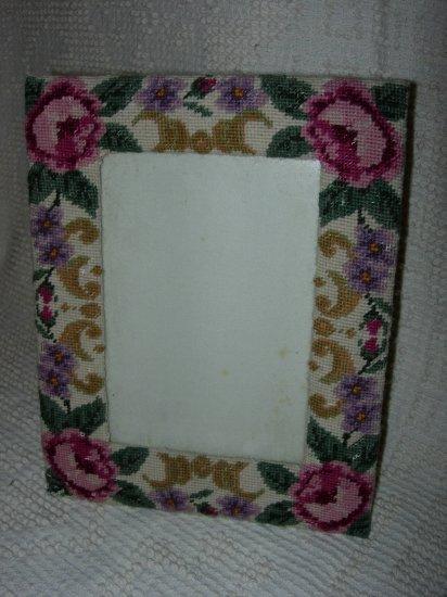 Pink Rose Needlepoint Frame 5 x 7