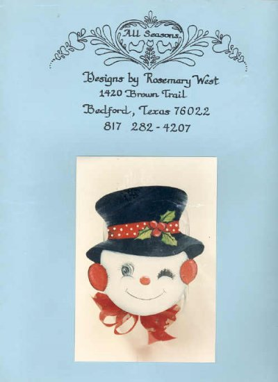 Decorative Painting Snowman Cookie Jar Lid Pattern 1982