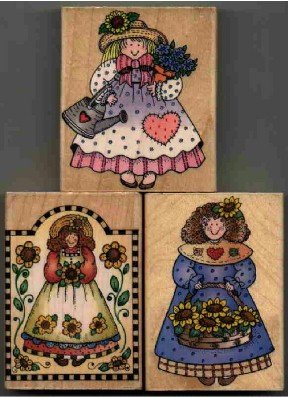 Girls with flowers ~ 3 Rubber Stamps  ~ NEW