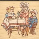 Tea Time ( Victorian ) ~ Rubber Stamp ~ NEW