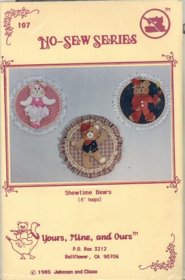 Showtime Bears ~ no sew hoops Pattern ~ 1985