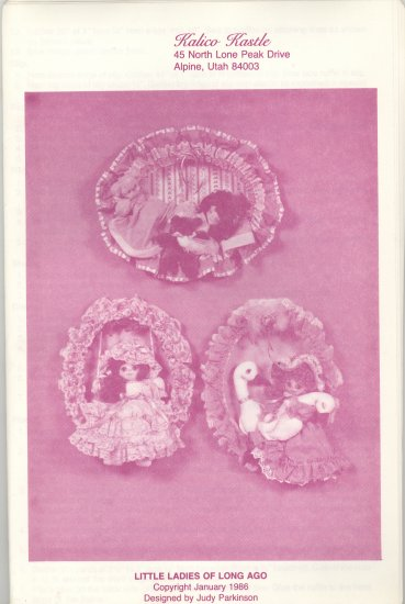 Little Ladies of Long Ago ~ Hoop Wall Decor Pattern ~ 1986
