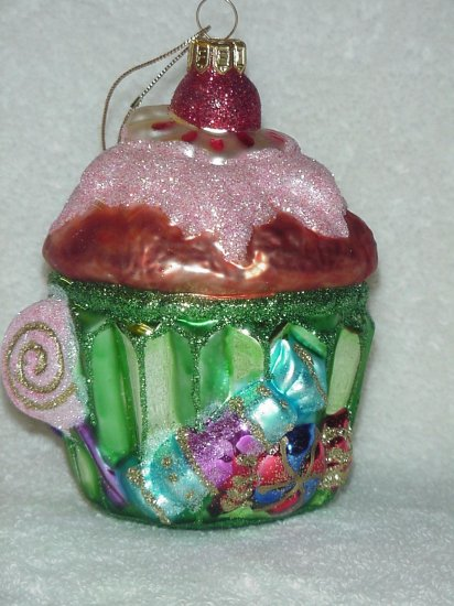 Fitz & Floyd Glass Ornament ~ Holiday Cupcake 2003 ~ Kohl's Store Exclusive