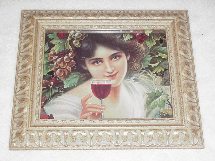 Framed Victorian Lady with Wine & Grapes Picture