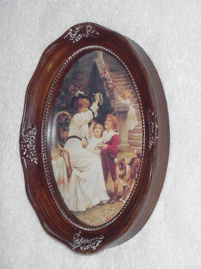Framed Victorian Mom with 3 Children & Dog Oval Picture