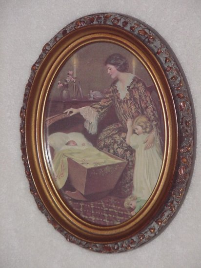 Framed Victorian Mother with Girl & Baby Oval Picture
