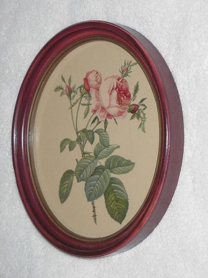 Framed Victorian Vintage Pink Roses Picture