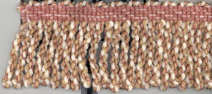 """3"""" Knitted Bullion Fringe ~ 16 yds ~ Ivory Tan & Mauve"""