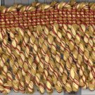 "3"" Knitted Bullion Fringe ~ 3 yards ~ Dk Lt Gold & Rust"