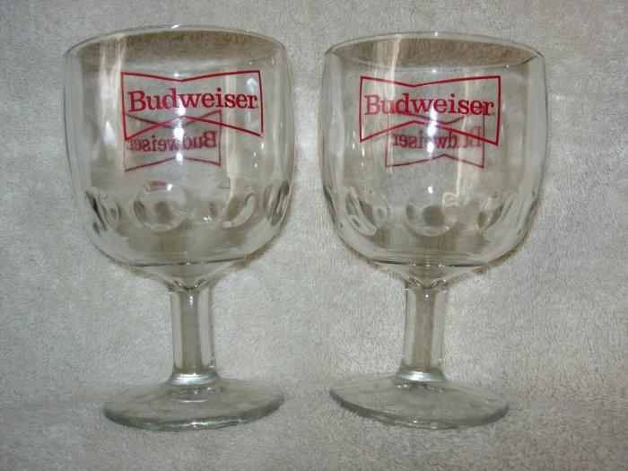 2 Budweiser Glass Beer Goblets