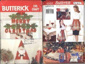 2 Butterick Patterns, #'s 245 and 4605 ~ Christmas Decorations & More