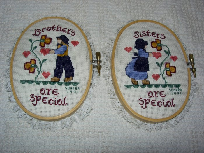 2 completed cross-stitches ~ Amish ~ Brothers & Sisters