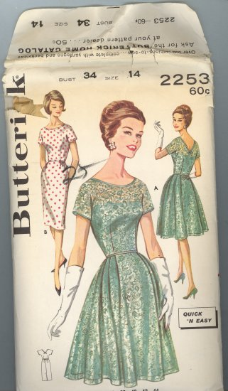 Butterick 2253 ~ Uncut Vintage Dress Pattern 1960's ~ size 14