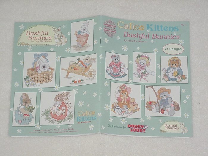 Calico Kittens Bashful Bunnies ~ Priscilla Hillman 2003 ~ Cross-stitch booklet