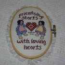 Completed Cross-Stitch ~ Amish ~ Friendship starts with Loving Hearts