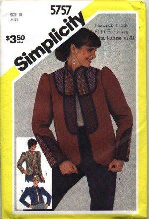 Simplicity # 5757 ~ Quilted Jacket ~ size 10 ~ 1982