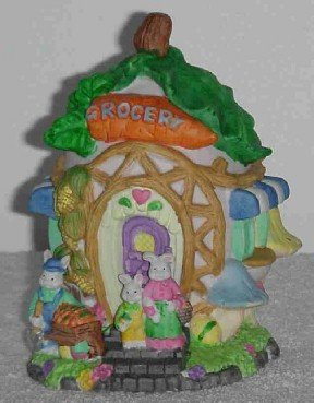Easter Grocery ~ Porcelain House ~ Can be lit
