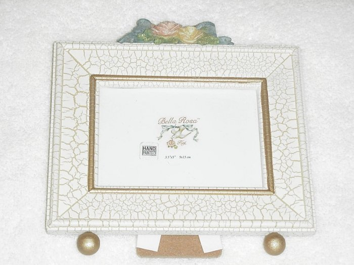 Bella Rosa Picture Frame ~ Roses, Bows and Crackle Finish