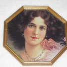 Framed Victorian Lady with Pink Feather Boa and Rose Picture