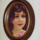 Framed Victorian Girl with Pink Flower Oval Picture