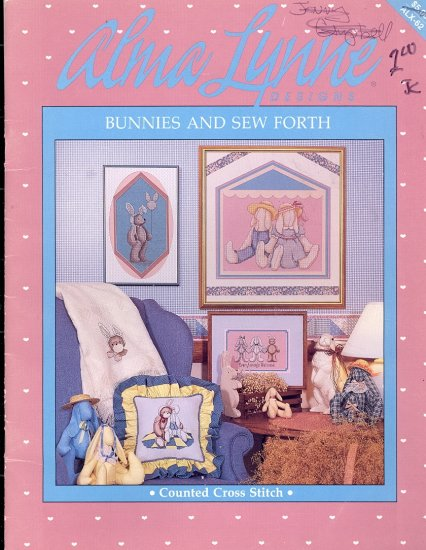 Bunnies and Sew Forth ~ Cross-stitch booklet Alma Lynne ~ 1987