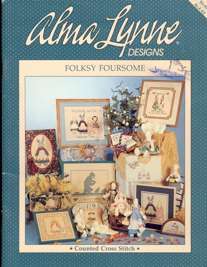 Folksy Foursome ~ Cross-stitch Booklet Alma Lynne ~ 1988