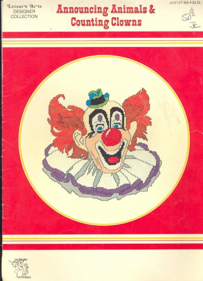 Announcing Animals & Counting Clowns by Vanessa Steele ~ Cross-stitch Chart 1981