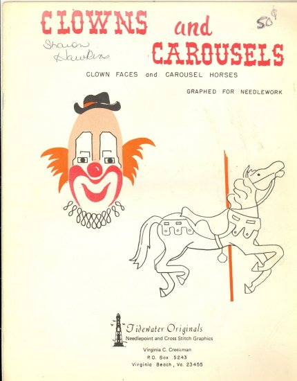 Clowns and Carousels by Virginia Creekman ~ Cross-stitch and Needlepoint Chart 1979