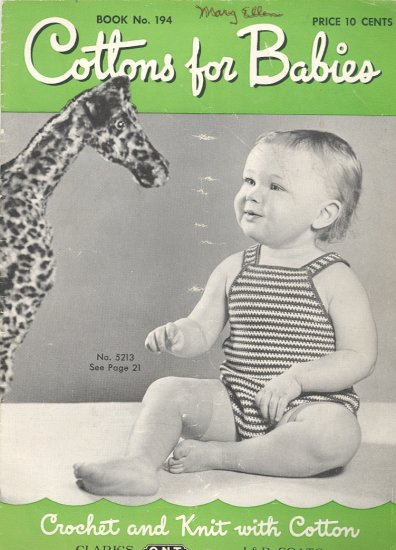 Cottons for Babies Booklet ~ Crochet and Knit 1943