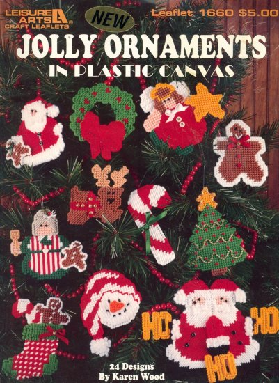 Jolly Ornaments by Karen Wood ~ 24 designs ~ Plastic Canvas Booklet ~ 1996