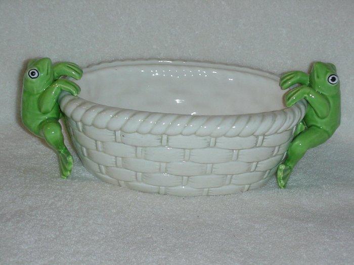 Whimsical Ceramic Frog Planter
