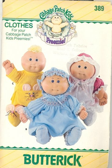 Butterick # 389 ~ Uncut Cabbage Patch Preemie Clothes Pattern ~ 1985