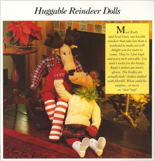 Huggable Reindeer Dolls ( Rudy & Noel Deer ) ~ Pattern 1989