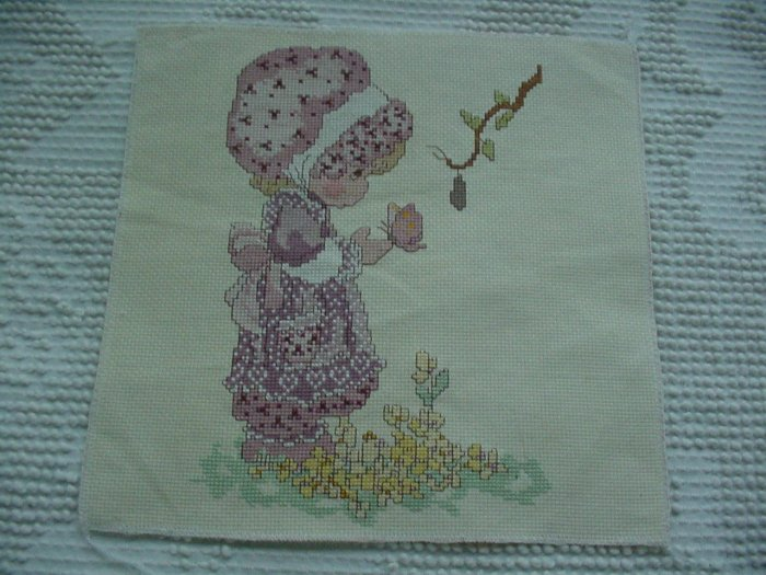 Precious Moments Cross-Stitch Design ~ Girl and Butterfly ~ Completed